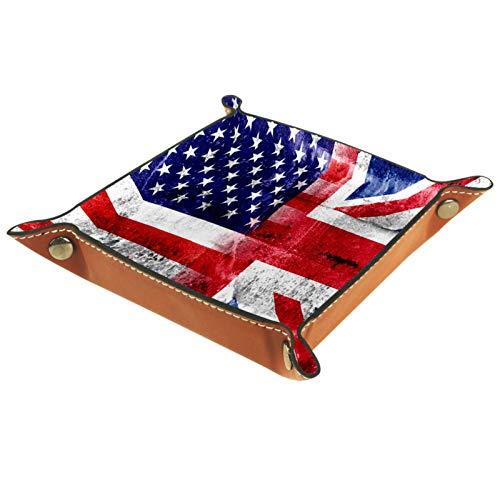LynnsGraceland Tablett Leder,Vintage amerikanische Flagge an der Wand,Leder Münzen Tablettschlüssel für Schmuck,Telefon,Uhren,Süßigkeiten,Catchall-Tablett für Männer & Frauen Großes Geschenk