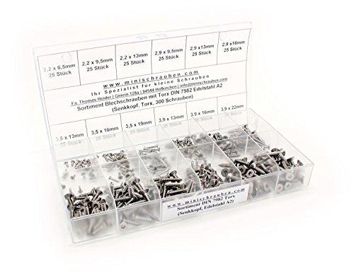 Sortimentskasten mit 300 Stück Blechschrauben nach DIN 7982-TX aus Edelstahl A2 (ab 2,2x6,5mm), Innensechsrund (TX), Senkkopf. Minischrauben Sortiment inkl. beschrifteter Box