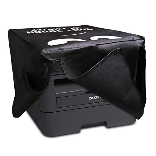 kwmobile Hülle kompatibel mit Brother DCP-L2530DW / L2550DN / MFC-L2710DN / L2750DW - Drucker Staubschutzhülle Schutzhaube Schutzhülle - Don't touch my printer Weiß Schwarz