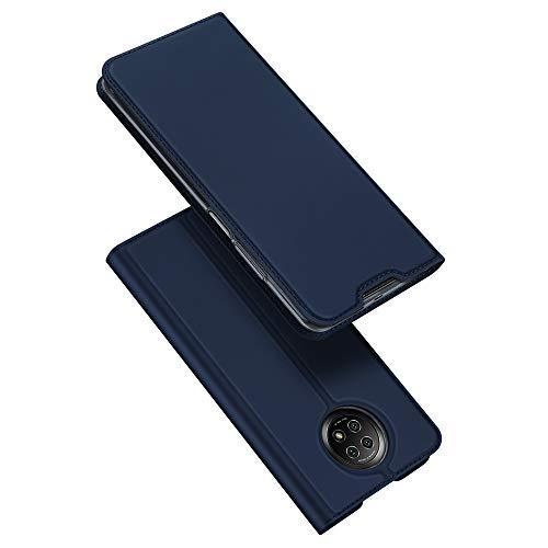 DUX DUCIS Hülle für Redmi Note 9T, Leder Klappbar Handyhülle Schutzhülle Tasche Hülle mit [Kartenfach] [Standfunktion] [Magnetisch] für Xiaomi Redmi Note 9T (Blau)
