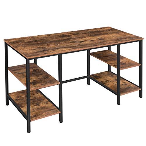HOOBRO Computertisch, großer Schreibtisch, Bürotisch mit 4 Ablageflächen, 137 x 55 x 76 cm stabiler Arbeitstisch, Spieltisch, für Büro, Studium, stabil, leicht aufzubauen, Vintage EBF137DN01