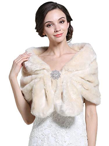 Zoestar Piel sintética abrigo chal piel crema Shrug 1920s para bodas estolas de piel para mujeres