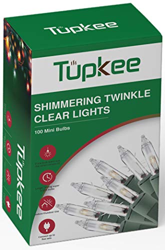 Christmas Random Twinkle Shimmering Lights - 12 of 100 Lights Twinkle - Indoor Outdoor – 20.5 Feet Light String, 100 Clear Bulbs - Christmas Tree Holiday Decor Sparkling Twinkling Christmas Lights