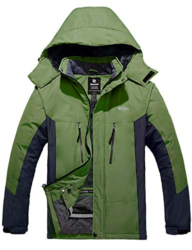 Wantdo Men's Insulated Ski Jacket Winter Parka Daily Casual Wear Grass Green L