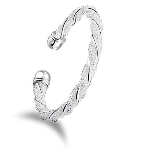 Design in Leather Damen Armreif 925 Sterling Silber plattiert Elegantes Design Frauen Schmuck-Beutel Geburtstags Geschenk 1001 Nacht 3.0 (gedreht)