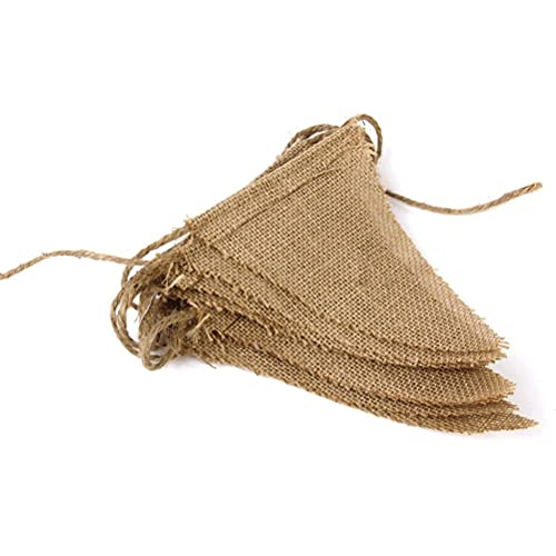 Estandarte de arpillera Guirnalda de yute vintage Banderines con 15 banderas para ceremonia de boda y decoración de fiesta