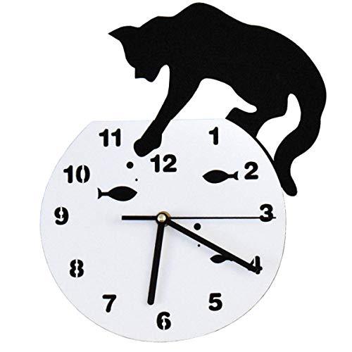 Xiuyer Reloj de Pared Silencioso Acrílico Lindo Gato y Pescado Reloj Colgante Moderno Decoración del Hogar para Niños Dormitorio Salon Cocina Oficina (Blanco y Negro, 30,5x21,5cm)