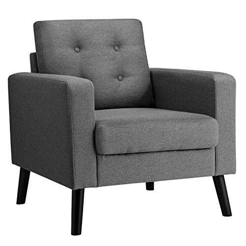 Giantex Modern Accent Chair, Mid-Century Upholstered Armchair Club Chair with Rubber Wood Legs, Linen Fabric Single Sofa for Living Room Bedroom Office (1, Grey)