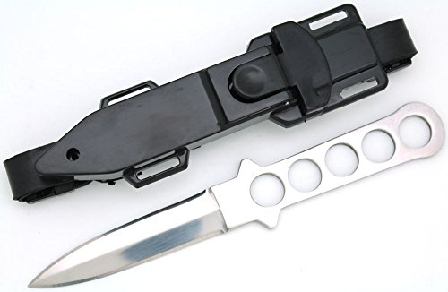 Snake Eye Tactical Dive Knife ll, All Stainless with Line Cutter, Razor Edge and Leg Strap Sheath (Double Edge)