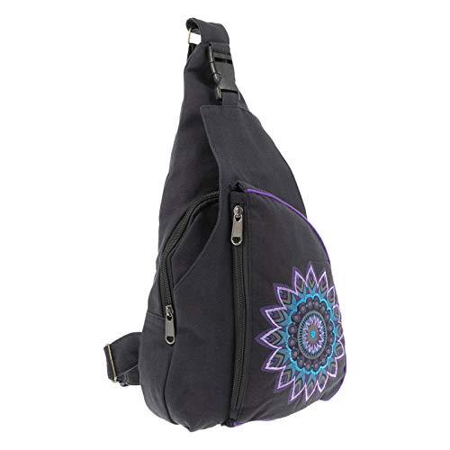 KUNST UND MAGIE Slingbag Hippie Goa Bodybag Schultertasche Mandala Rucksack M, Farbe:Schwarz/Blau/Purple