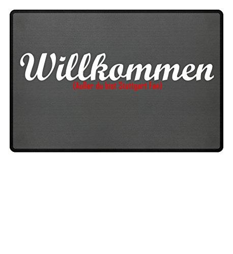 PlimPlom Fußmatte Anti Stuttgart in grau - Lustige Fußball Schmutzfangmatte mit Statement aus Polypropylen mit Rutschfester Unterseite