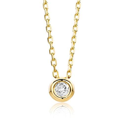 Orovi Halskette für Damen Kette mit Diamant GelbGold Kette 9 Karat (375) Brillianten 0.05crt, Goldkette