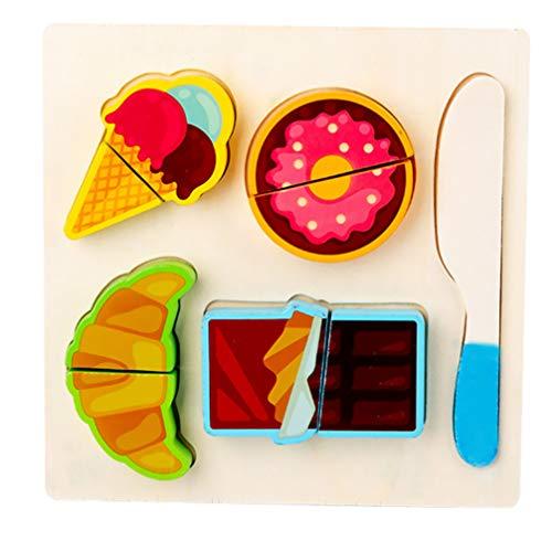 Tomaibaby Juego de Juguetes para Cortar Alimentos de Madera para Niños Juguete de Simulación Cocina Cocina Juego de Juegos para Cortar Alimentos Juguete (Color 1)