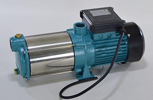 Omnigena Edelstahl Kreiselpumpe Gartenpumpe MHI1300 INOX 1300W/230V Förderleistung 6000 l/h robuste und rostfreie Edelstahlwelle + integrierter thermischer Motorschutzschalter + Rückschlagventil.