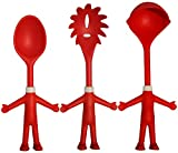 Mr. Spaghetti & Friends, Nudel-Servier-Set, 3 witzige Küchenhelfer, Küchenutensilien, Pasta-Set mit Spaghettilöffel / Spaghettizange, Käse- und Soßen-Löffel, lustiges Geschenk für Spaß beim Kochen
