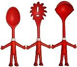 Mr. Spaghetti & Friends, Set de 3 Utensilios de cocina de silicona con Cuchara para espaguetis, Cucharón de salsa y Cuchara para queso, Regalo para Cocineros, 3 Amigos divertidos para servir pasta