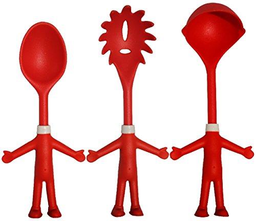 Mr. Spaghetti & Friends, pasta serveerset, keukenhulp voor plezier bij het koken, keukengerei, pasta set met spaghettilepel, kaas en saulepel, cadeau-idee, 3 grappige vrienden voor hobby-koks