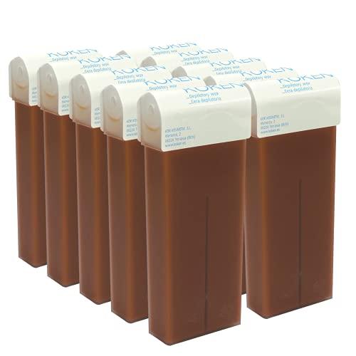 KOKEN - Cera Depilatoria Roll-on 100ml Universal - Pack 10 Cartuchos Chocolate (Resinas 100% Españolas)