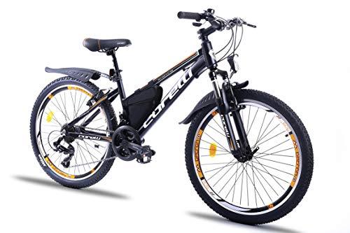 Corelli Twister Mountainbike 20 Zoll, 24 Zoll oder 26 Zoll mit Aluminium-Rahmen, V-Brake, Shimano 21 Gang-Schaltung, Gabelfederung, als Damen-Fahrrad, Mädchen-Fahrrad, Kinder-Fahrrad. (orange, 24.0)