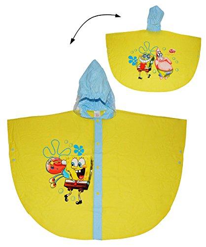 alles-meine.de GmbH Regencape / Regenponcho -  Spongebob Schwammkopf  - Gr. 110 - 116 - 122 - Circa 4 bis 6 Jahre - für Kinder - Jungen Mädchen - Fische Tiere Fahrrad / Regen P..