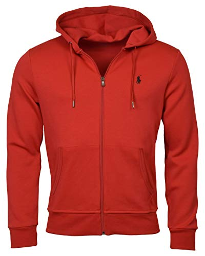 Polo Ralph Lauren Men's Double-Knit Full-Zip Hooded Sweatshirt - XL - RL 2000 Red
