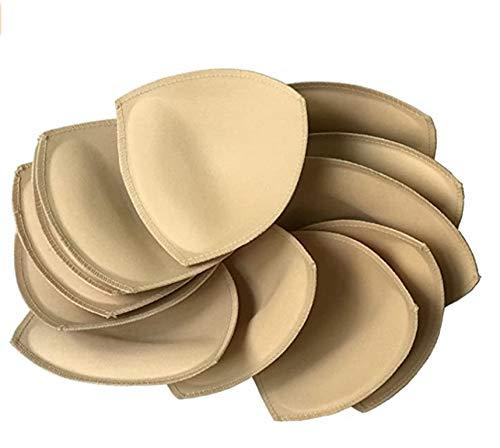 Fengyuan 6 pares Inserto de almohadilla de sujetador removible (beige) para sujetador deportivo y parte superior de bikini
