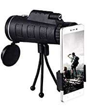 Aeoss 40x60 HD HD Monocular Zoom Professional Portable Telescope for Camping Hunting with Smartphone Holder Tripod