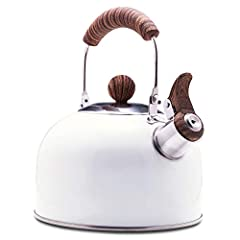 [High quality] 304 stainless steel, durable and not easy to get rust, heats fast, corrosion resistant. Coated with high-temperature paint, do not fade and easy to clean. This kettle whistles when water boils, to prevent from boiling over [Thickened b...