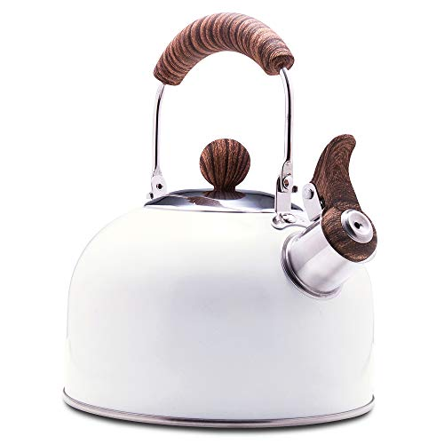 ROCKURWOK Tea Kettle Stovetop Whistling Teapot Stainless Steel Pearl White 243Quart