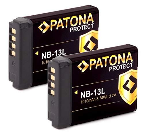 PATONA (2X) Protect V1 - Batería NB-13L (1010mAh) con Sensor NTC y Caja V1 - Sistema de batería Inteligente - última generación