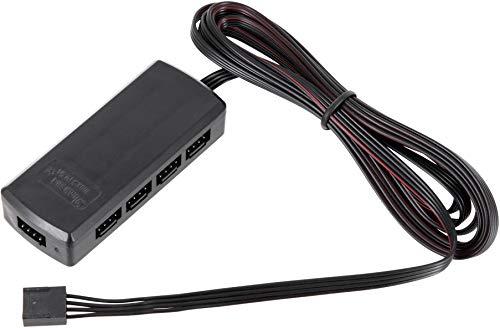 RGB 9-voudige verdeler met 2 m kabel + stekker - zwart