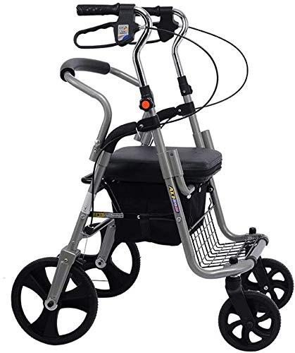 Ältere faltbaren Rollstuhl for Oma Opa GIF Folding Rollator Walker mit Sitz, Leichte Ältere Four Wheel Walkers Einkaufswagen, Rollstuhl Walker und Transport Stuhl höhenverstellbar Tr