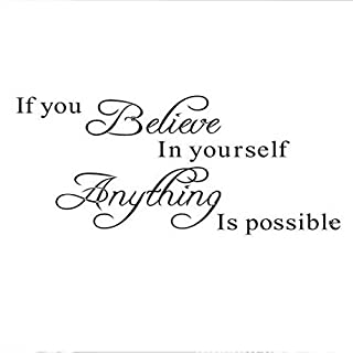 ❤JPJ(TM)❤️_Home decoration Wall Stickers,1Pcs Home Fashion Believe Anything is Possible Inspirational DIY Wall Sticker Decals (Black)