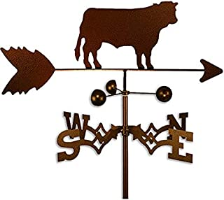 Copper Colored Metal Cow Weathervane Farm Compass Decor Weather Vanes for Rooftop Rustic Country Decorative Farmhouse Barn Vintage Antique Direction Arrow Wind Spinner, Roof Mount Steel