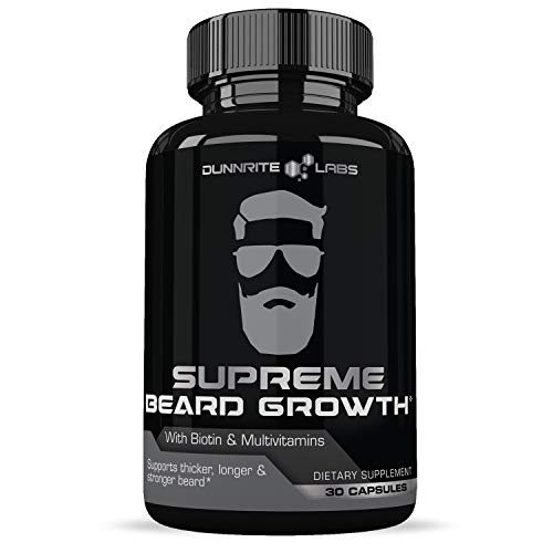 SUPREME BEARD GROWTH - Beard Vitamins | Leader in Facial Hair Growth Supplements - For Thicker, Fuller, Healthy Beard | with Biotin, Non-GMO Facial Hair Growth Pills for Men - 30 Capsules