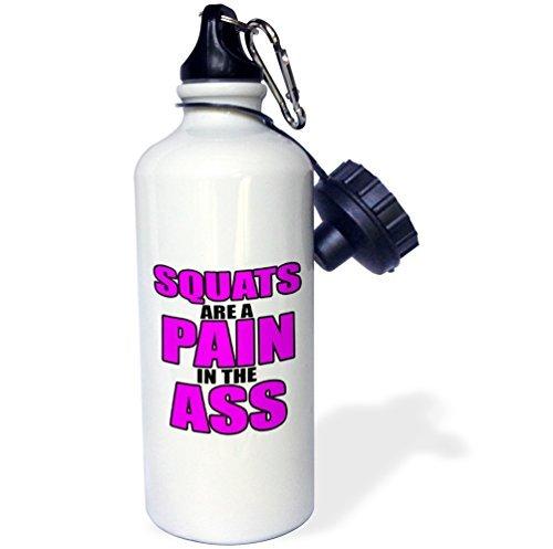 wenyige8216Kniebeugen sind ein Schmerz im Arsch Sport Wasser Flasche, Klauenhammer/Latthammer, weiß