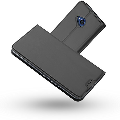 RADOO HTC U11 Life Hülle, Premium PU Leder Handyhülle Brieftasche-Stil Magnetisch Folio Flip Klapphülle Etui Brieftasche Hülle Schutzhülle Tasche Hülle Cover für HTC U11 Life (Schwarzgrau)