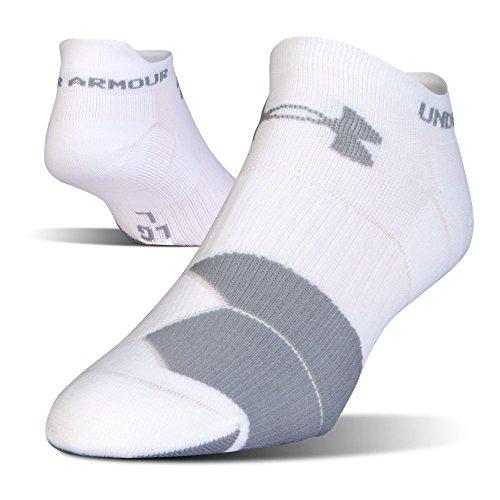 Under Armour UA Men's Run Cushion Tab No Show Sock 1292820 (White/Gray, L)