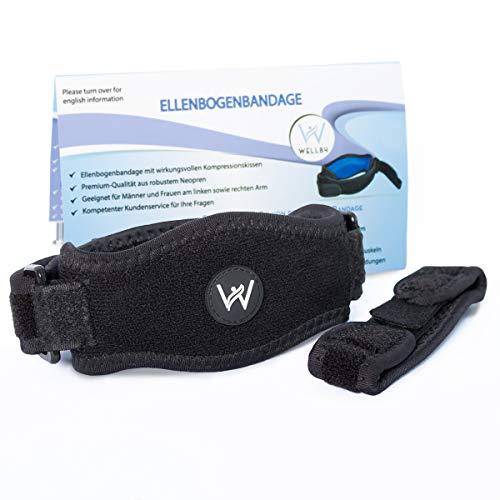 Well B4® Ellenbogenspange, Verbesserte Ellenbogen Manschette inkl. E-Book, Unisize, Schwarz