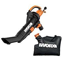 powerful WORX WG509 TRIVAC 12 Amp 3-in-1 Electric blower / earth gatherer / vacuum with multi-stage all-metal system…