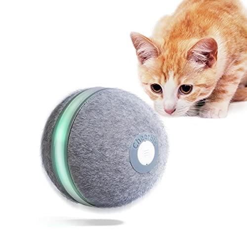 INF Gioco per Gatti Wicked Ball/Gioco interattivo per Gatti/Palla Giocattolo Intelligente, Ricarica USB, Materiale Lana, Colore Grigio