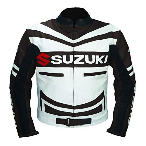 GSXR SUZUKI 4313 - Giubbotto da moto in pelle di vacchetta marrone Marrone XL