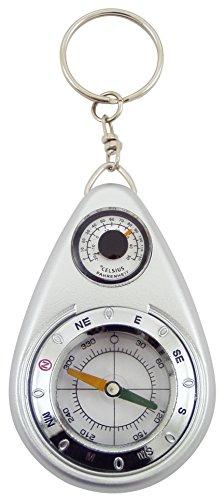Générique 1908 Kompas Sleutelhanger met Thermometer, Kunststof, Grijs, 4,5 x 1,5 x 11 cm