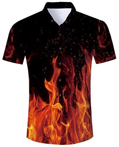 Goodstoworld Herrenhemd Hellblau Herren Freizeit Hemden Slim Fit Hawaiihemd 3D Bunt Kurzarmhemd Männer Ananas Shirt XL