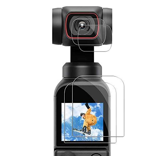 Elyco Vetro Temperato la Pellicola Protettiva per DJI Osmo Pocket 2, (Display + Lente) Pellicola Trasparente temperato Protezione Proteggi Schermo per DJI Osmo Pocket 2 Accessories (4 Pezzi)