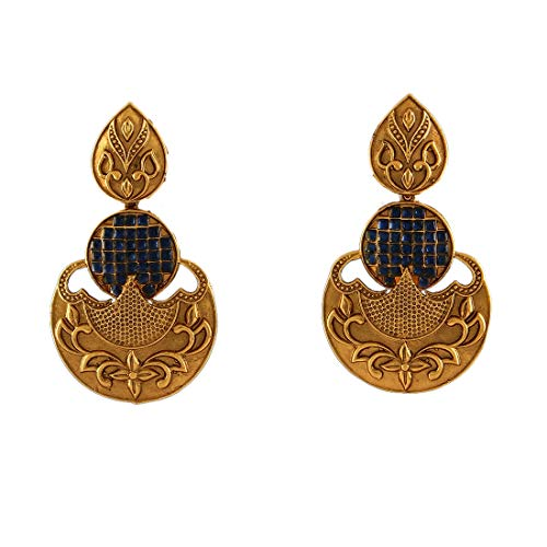 JewelryGift Traditional Dangle Earrings Gold Plated Blue Sapphire-CZ New Fancy Design Fashion Jewellery Gift for Wife Sister MYE 32-BLUE