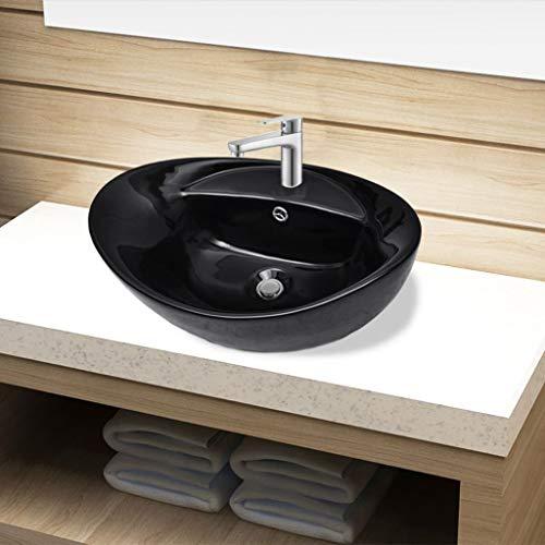 UnfadeMemory Lavabo Cerámica de Baño con Desagüe para Desbordes y Agujero de Grifo,Adorno para Hogar (Negro, 58,5x39x21cm)