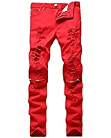 Leward Men's Ripped Skinny Distressed Destroyed Straight Fit Zipper Jeans with Holes No Belt (Red, 32)