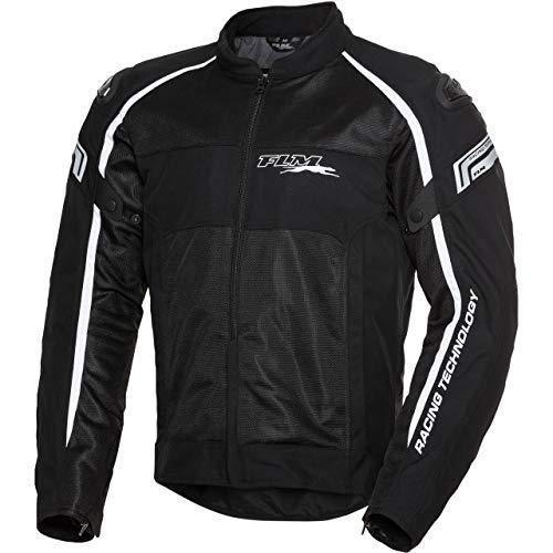 FLM Motorradjacke mit Protektoren Motorrad Jacke Sports Textil Jacke 1.2 schwarz/weiß XL, Herren, Sportler, Ganzjährig