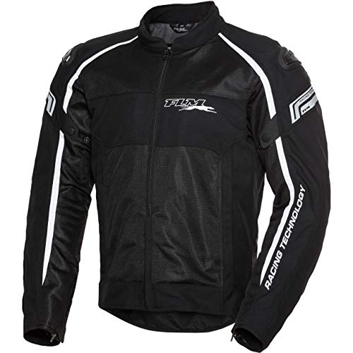 FLM Chaqueta de motorista con protectores para moto, deportiva, para todo el año negro/blanco XXXL